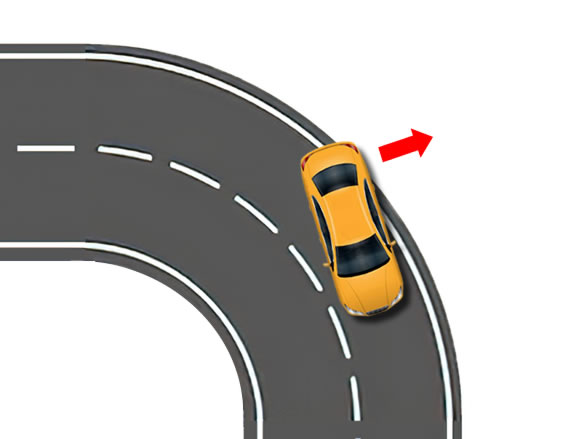 Momentum and the effect of braking may cause the rear of your car to lose traction