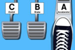 Which pedal in a car is the accelerator explained and what foot to use